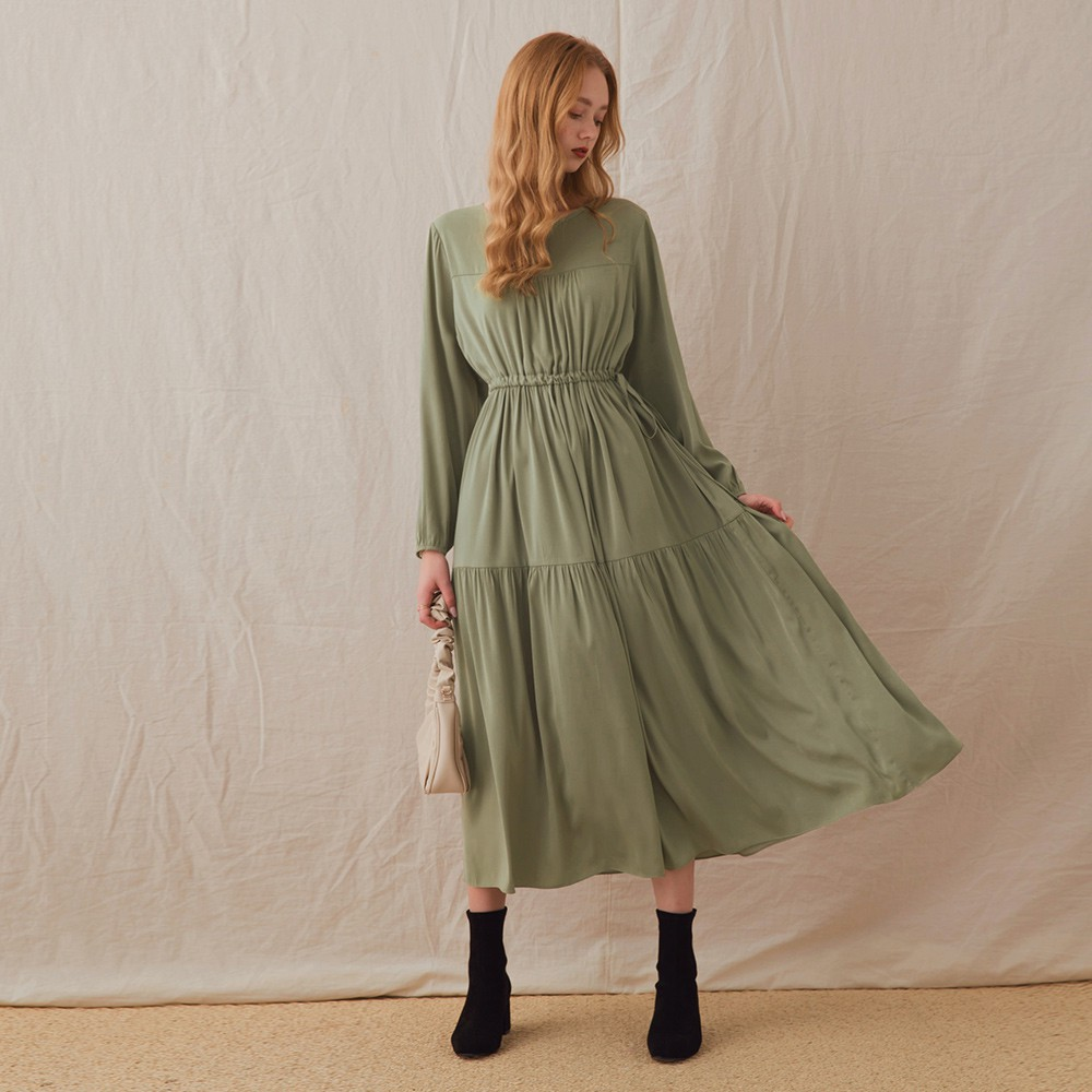 AIR SPACE LADY 溫柔縮腰側綁荷葉長洋裝(綠)