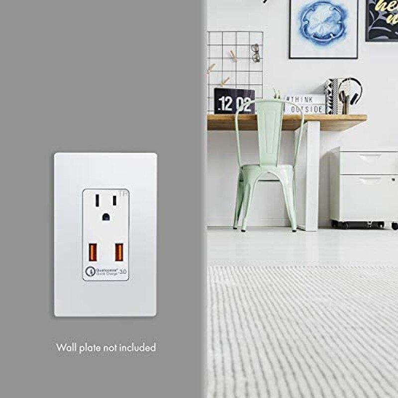 [2美國直購] 插座 TOPGREENER 36W TU1152QC3 Quick Charge 3.0 USB Wall Outlet, Compatible with Samsung S9/S8/