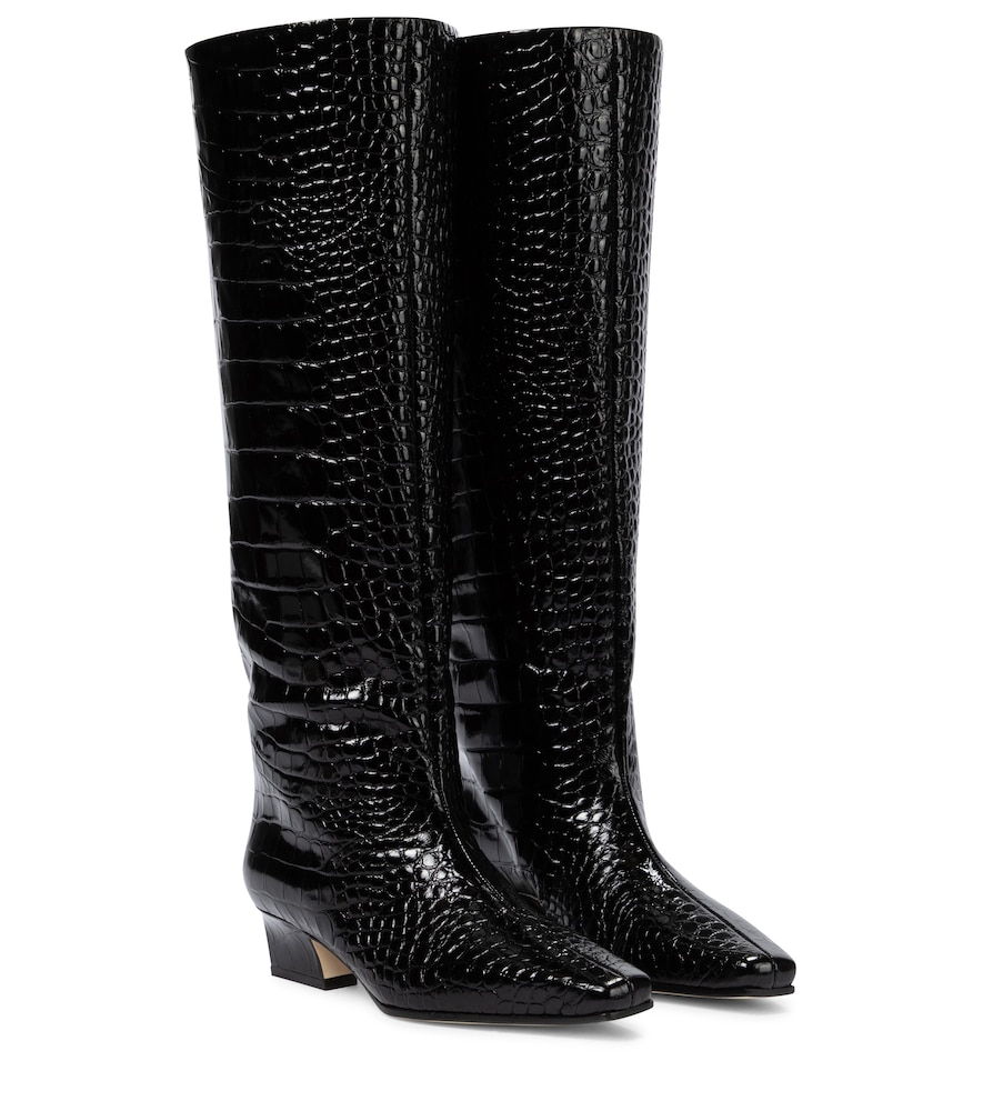 Croc-effect patent leather knee-high boots