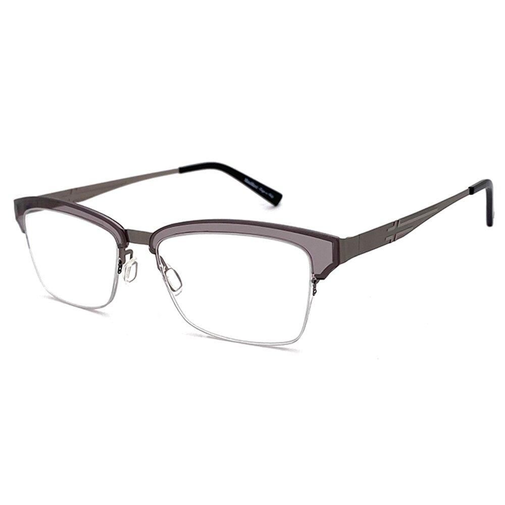 【SUNS】薄鋼系列光學眼鏡鏡框 淺灰半框(超輕材質)