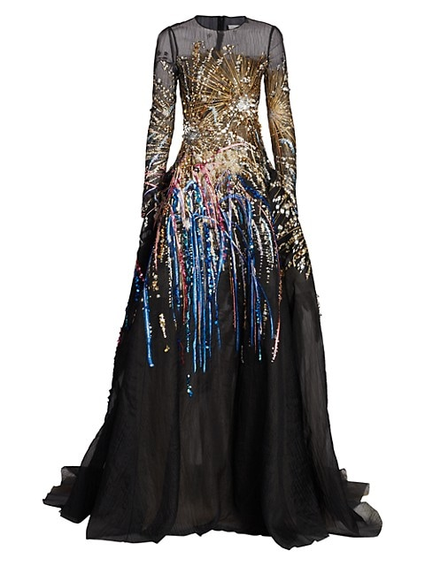 Embroidered-Firework Mesh Gown
