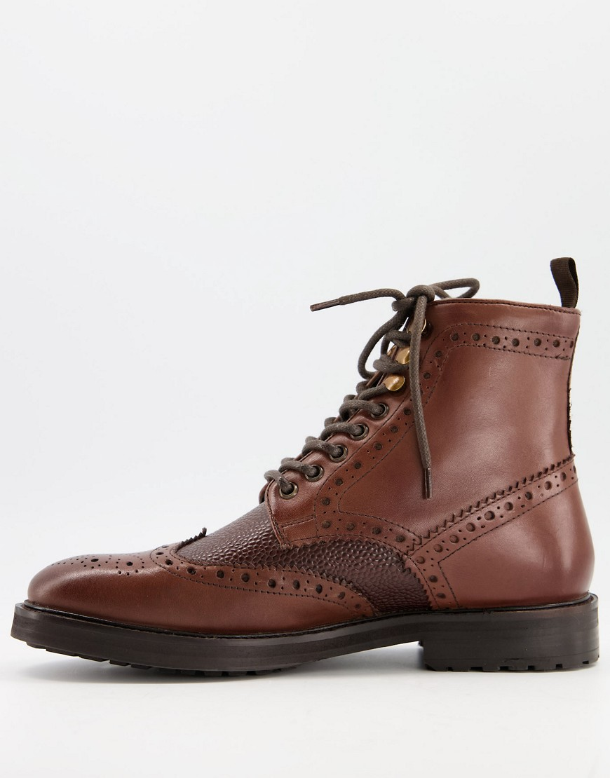 ASOS DESIGN brogue boots in brown leather with borg lining on brown sole