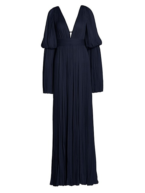 Tiered Flare-Sleeve Chiffon Silk Gown