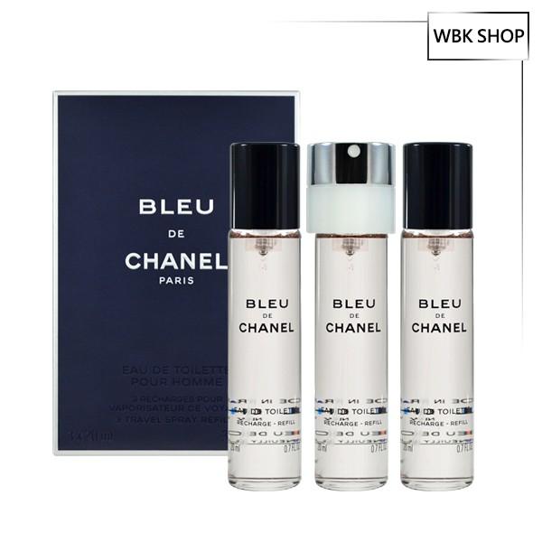 CHANEL 香奈兒 Bleu 藍色男性隨身淡香水 20mlx3 補充裝 EDT 男香 藍色 隨身香- WBK SHOP