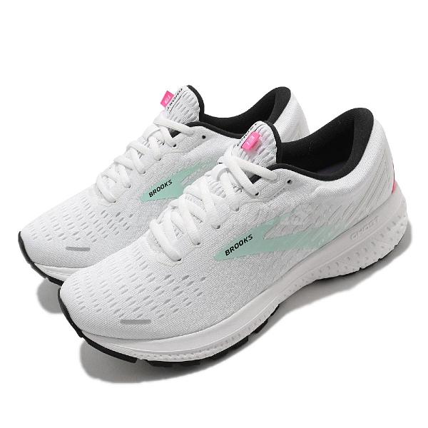 Brooks 慢跑鞋 Ghost 13 女鞋 魔鬼系列 緩震 白 淺綠 運動鞋 【ACS】 1203381B103