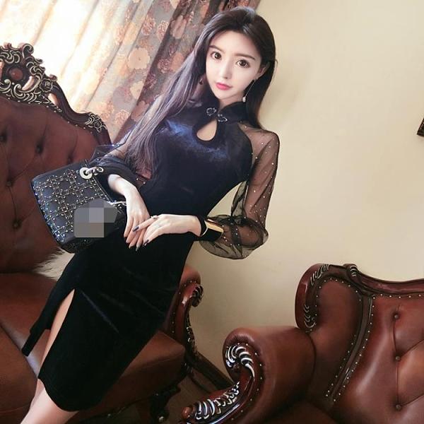 ( 全場九折 ) 新款女裝性感改良版中國風輕款旗袍長袖連衣裙秋冬打底裙