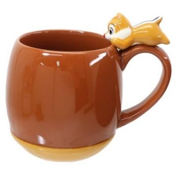 小禮堂 迪士尼 蒂蒂 造型陶瓷馬克杯 咖啡杯 陶瓷杯 茶杯 300ml (深棕 杯邊玩偶)