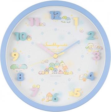 小禮堂 角落生物 連續秒針圓形壁掛鐘 時鐘 壁鐘 圓鐘 (藍 立體數字)