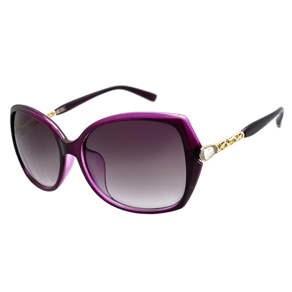 淑女系列太陽眼鏡 紫框精緻鑲鑽墨鏡 抗UV(88743)