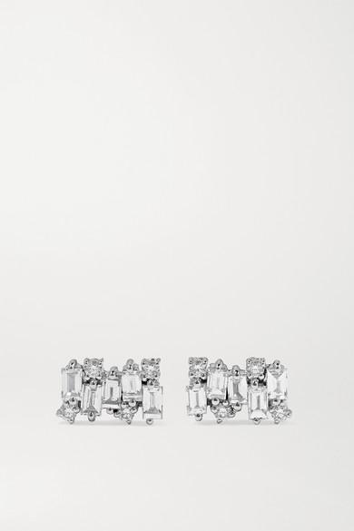 Suzanne Kalan - Shimmer 18k 白金钻石耳钉 - 白金色 - one size