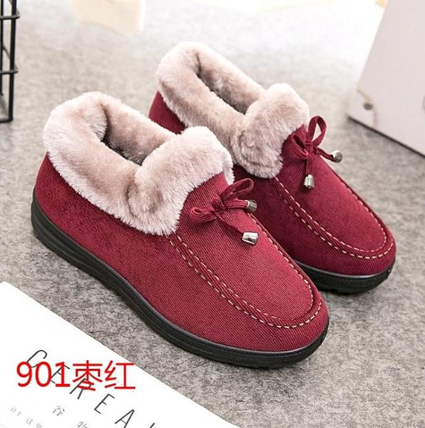 老北京棉鞋女冬季保暖加絨加厚短款平底防滑雪地靴媽媽毛毛鞋