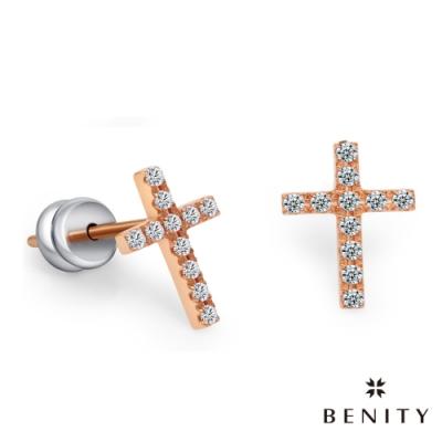 BENITY 真愛信念 白鋼 IP玫瑰金 十字架 鑲鑽 耳環