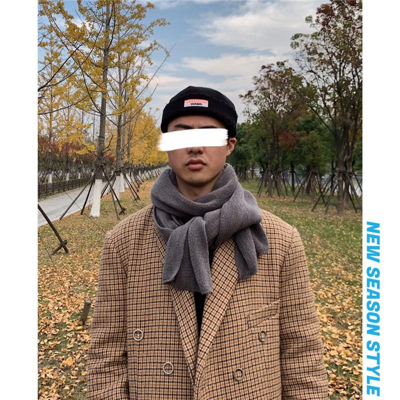 多顏色 韓系簡約百搭保暖圍巾 青年男士冬季寒流首選毛線針織圍脖 簡約純色男女同款抗寒圍巾 禮物 飾品 男生配飾 現貨
