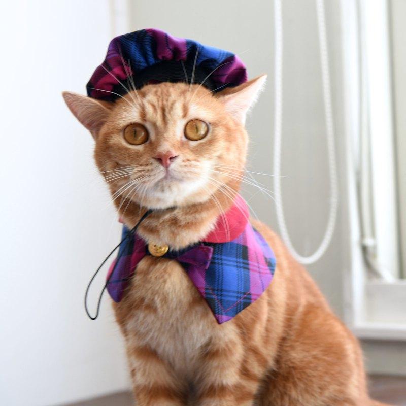 寵物歐洲復古時尚組-英倫貝雷帽+斗篷-貓【ZAZAZOO】
