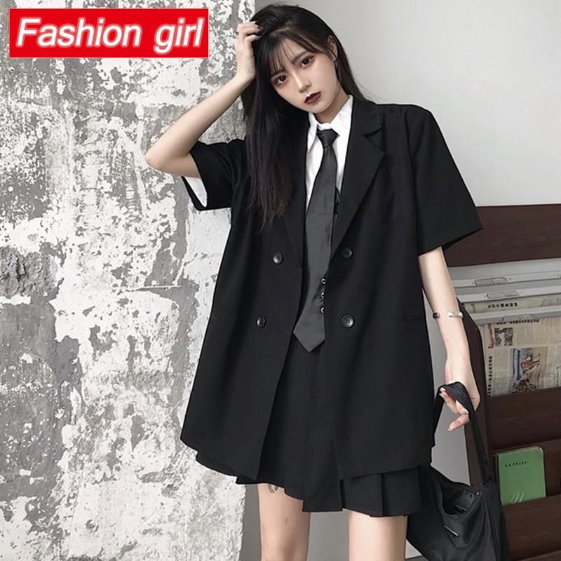 暗黑系 外套 西裝外套 短袖 上衣 新款夏季薄款雙排扣短袖西裝外套寬鬆原宿復古工裝制服上衣潮