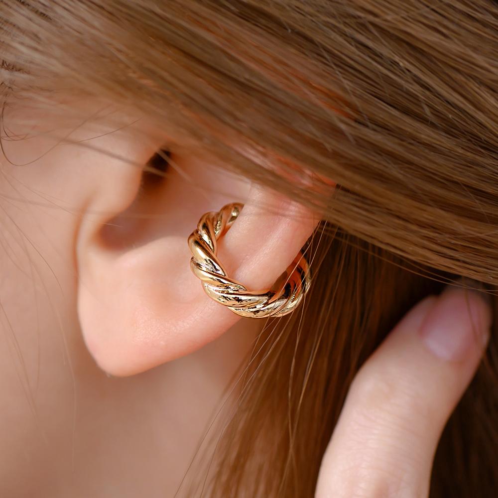 捲捲麻花單支耳骨夾(2色)-B40015