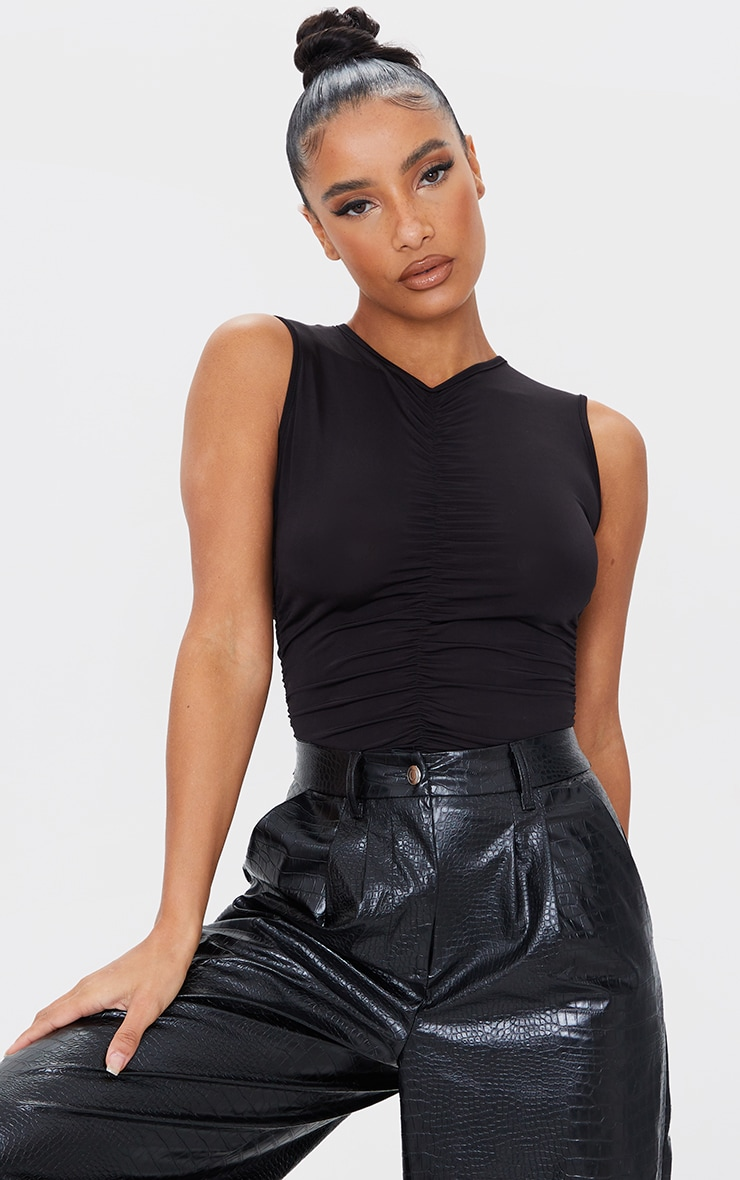 Black Slinky Ruched High Neck Bodysuit