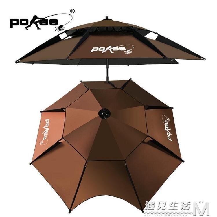 釣魚傘2.2米萬向防雨黑膠摺疊遮陽傘釣魚雨傘垂釣傘用品   WD