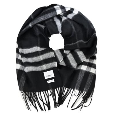 BURBERRY 經典格紋羊絨流蘇圍巾(黑x白灰)