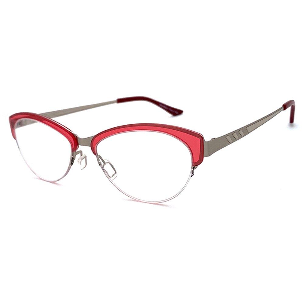 【SUNS】薄鋼系列光學眼鏡鏡框 時尚紅半框(超輕材質)