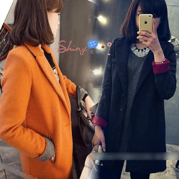 【9273】shiny藍格子-簡單素面‧一粒釦翻領設計長袖毛呢大衣外套
