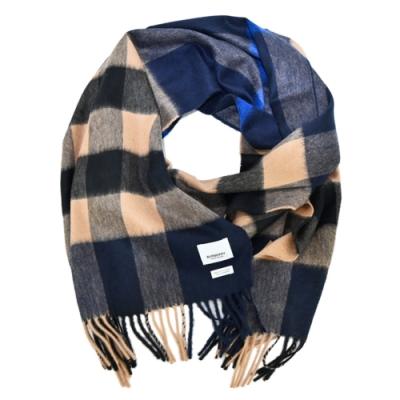 BURBERRY 經典寬方格紋羊絨流蘇圍巾(靛藍x駝色)