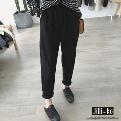 JILLI-KO 韓版百搭寬鬆蘿蔔褲- 黑色
