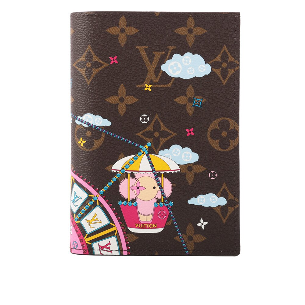 LV Monogram 聖誕節限量版護照封套(芭蕾粉) M69746