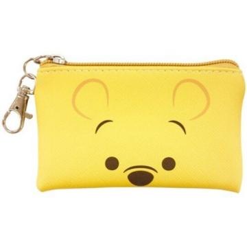 小禮堂 迪士尼 小熊維尼 方形皮質拉鍊零錢包《黃.大臉》掛飾.收納包.耳機包