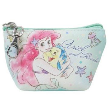 小禮堂 迪士尼 小美人魚 船形皮質零錢包 掛飾零錢包 小物包 (綠粉 抱抱)