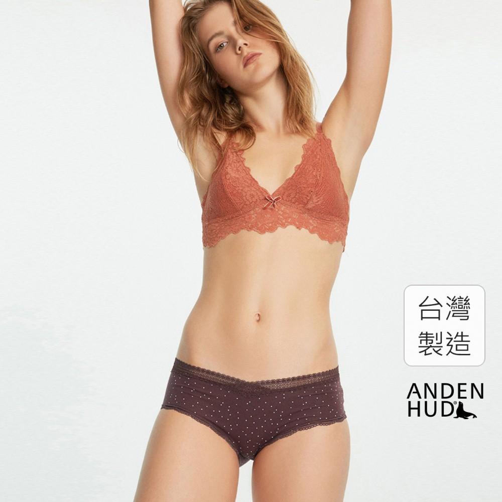 【Anden Hud】蒙布朗.2/3交叉蕾絲中腰三角內褲(酒紅褐-點點) 台灣製