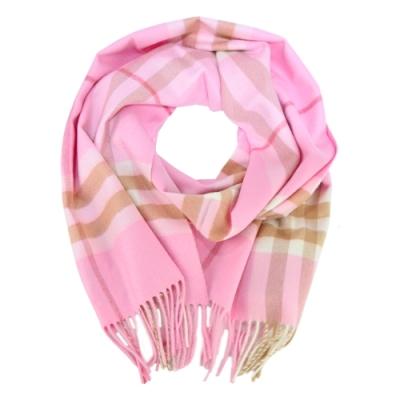 BURBERRY 經典格紋羊絨流蘇圍巾(淡粉x駝色)