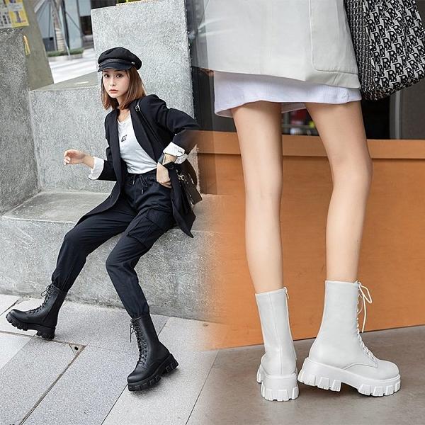 清倉大碼鞋 大碼女靴41一43復古英倫風厚底百搭瘦瘦靴春秋單靴特大號40 42潮