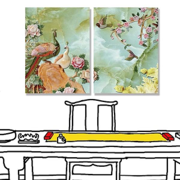 【24mama 掛畫】二聯式 油畫布 無框畫 30x40cm-陶瓷鳥油畫布無時鐘