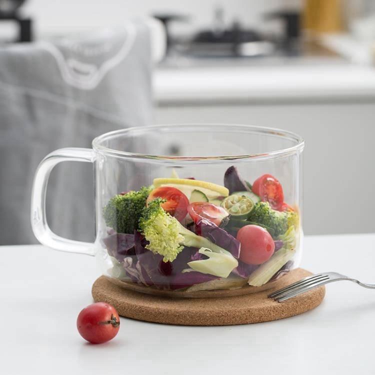 便當盒 硅膠蓋玻璃泡面碗高硼硅玻璃耐高溫帶蓋飯盒圓形把手