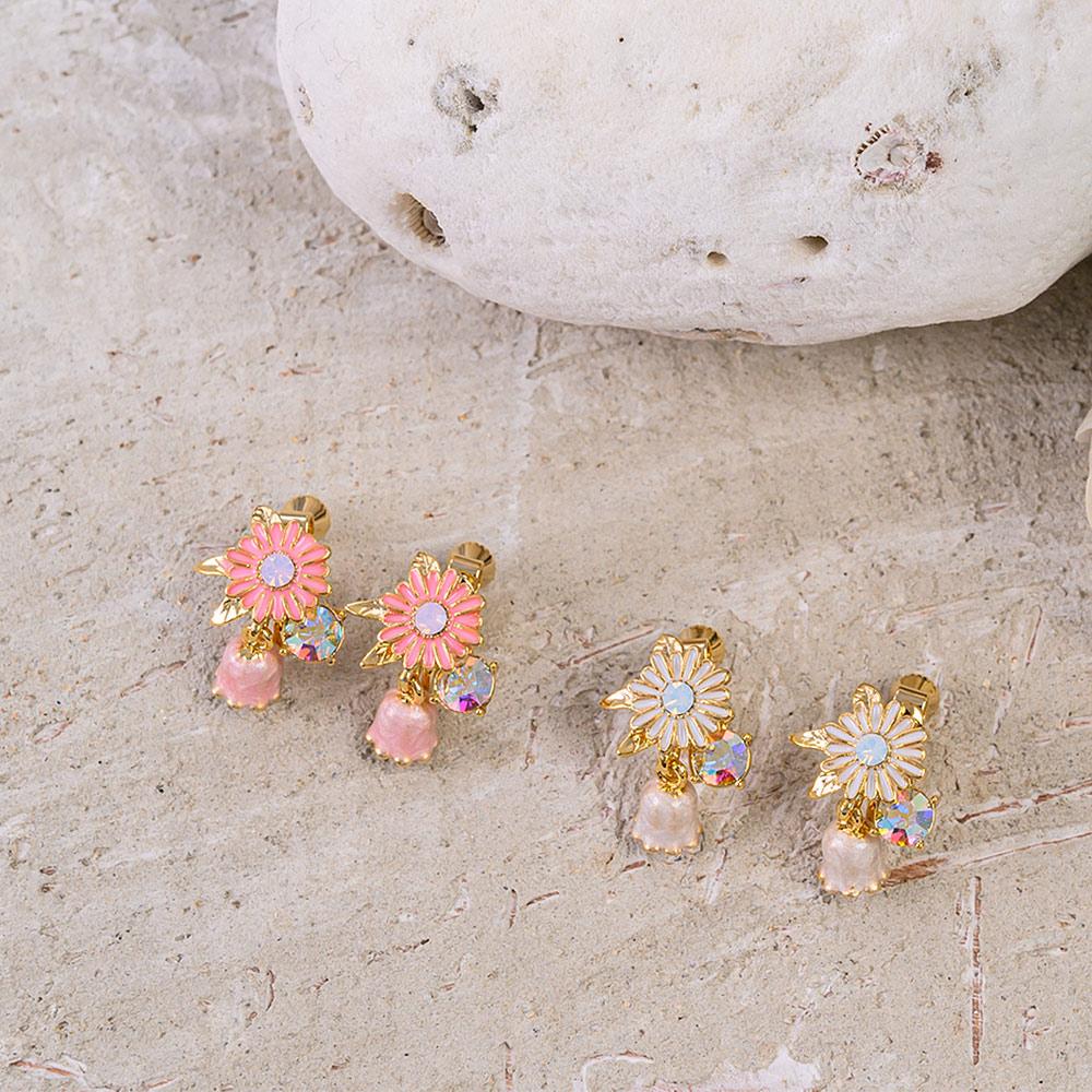 粉嫩琺瑯雛菊鈴蘭耳夾(2色)-B10207