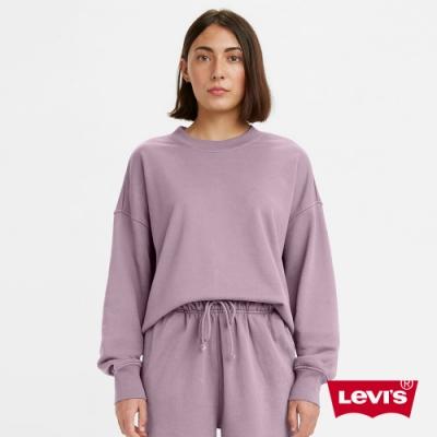 Levis 女款 重磅大學T 韓系Oversize家居服版型 精工刺繡Logo 400GSM厚棉 香芋紫
