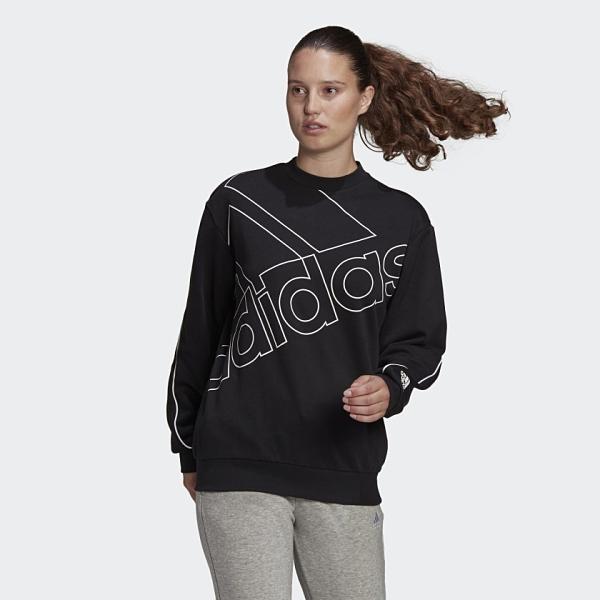 Adidas Giant Logo Sweatshirt 女款黑色運動長袖上衣-NO.GM5634