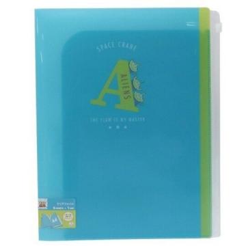 小禮堂 迪士尼 三眼怪 A4雙開式文件夾 資料夾 檔案夾 L夾 附夾鏈袋 (藍綠 A)