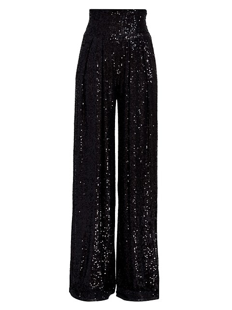 High-Waist Sequin Wide-Leg Pants