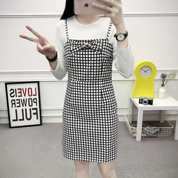 S-2XL春秋新款格紋拼接長袖連身裙長袖洋裝兩件套一步裙子(單色格子)-優美依戀