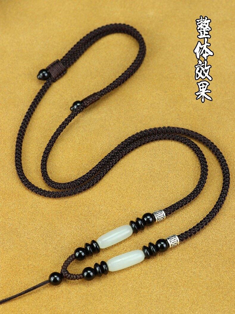 掛繩 項鍊繩 和田玉吊墜掛繩吊墜繩玉佩掛件繩男女項練繩手工編織繩可調節繩子『CM40429』