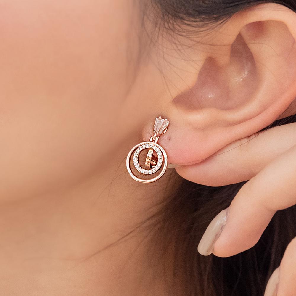 簡約環中鑽耳夾(2色)-B10201