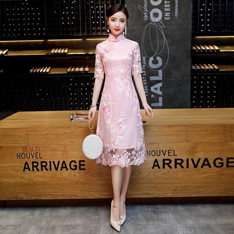 改良版旗袍2020新款年輕少女修身復古走秀連衣裙中長款中國風大碼 新年狂歡