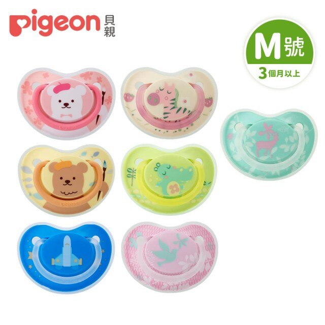 【Pigeon 貝親】繽紛系列安撫奶嘴/M號-粉小熊/棕小熊/星空火箭/可愛斑馬/可愛河馬/森林白鴿/森林小鹿