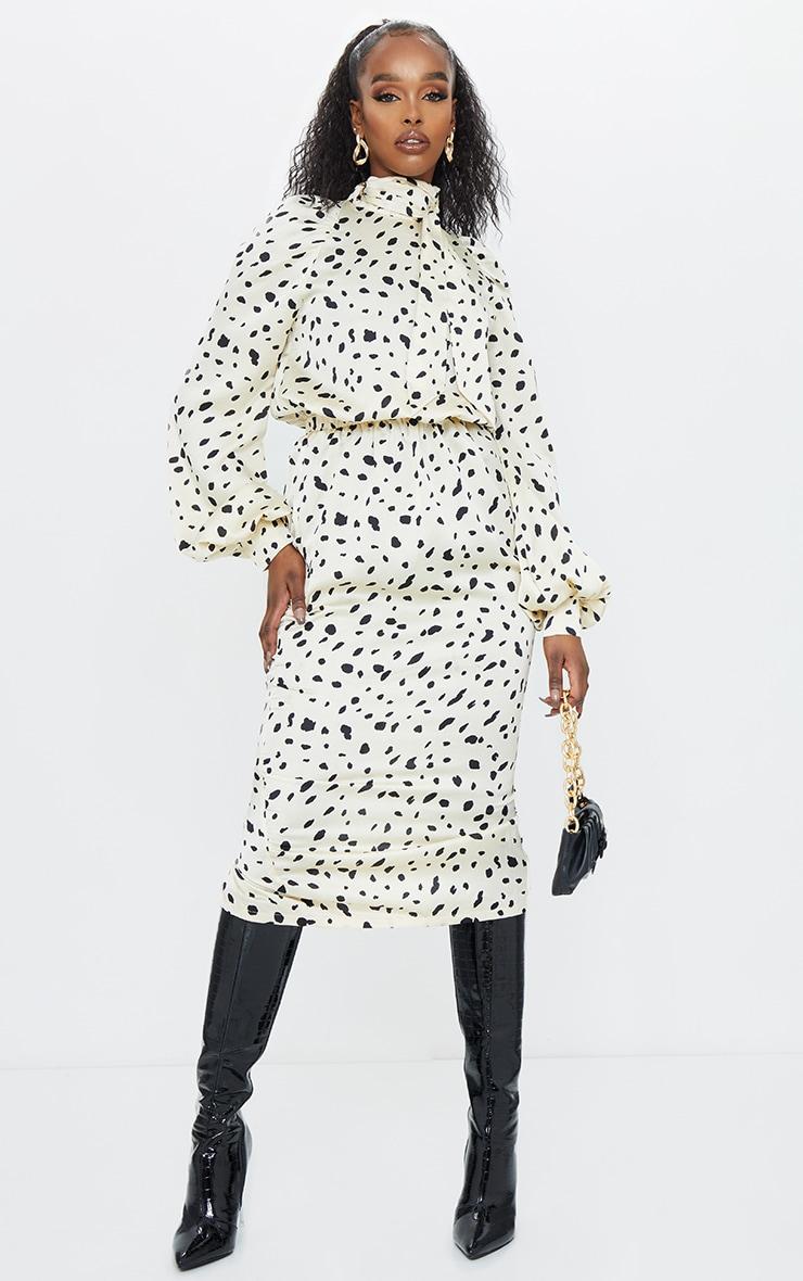 Cream Tie Neck Balloon Sleeve Dalmatian Print Satin Midi Dress