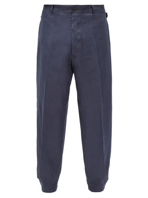 Maison Margiela - Adjustable-cuff Linen-twill Trousers - Mens - Navy