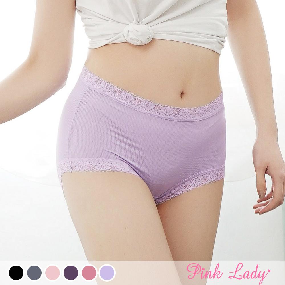 台灣製內褲 透氣涼爽 優雅花蕊 中高腰內褲8812-Pink Lady