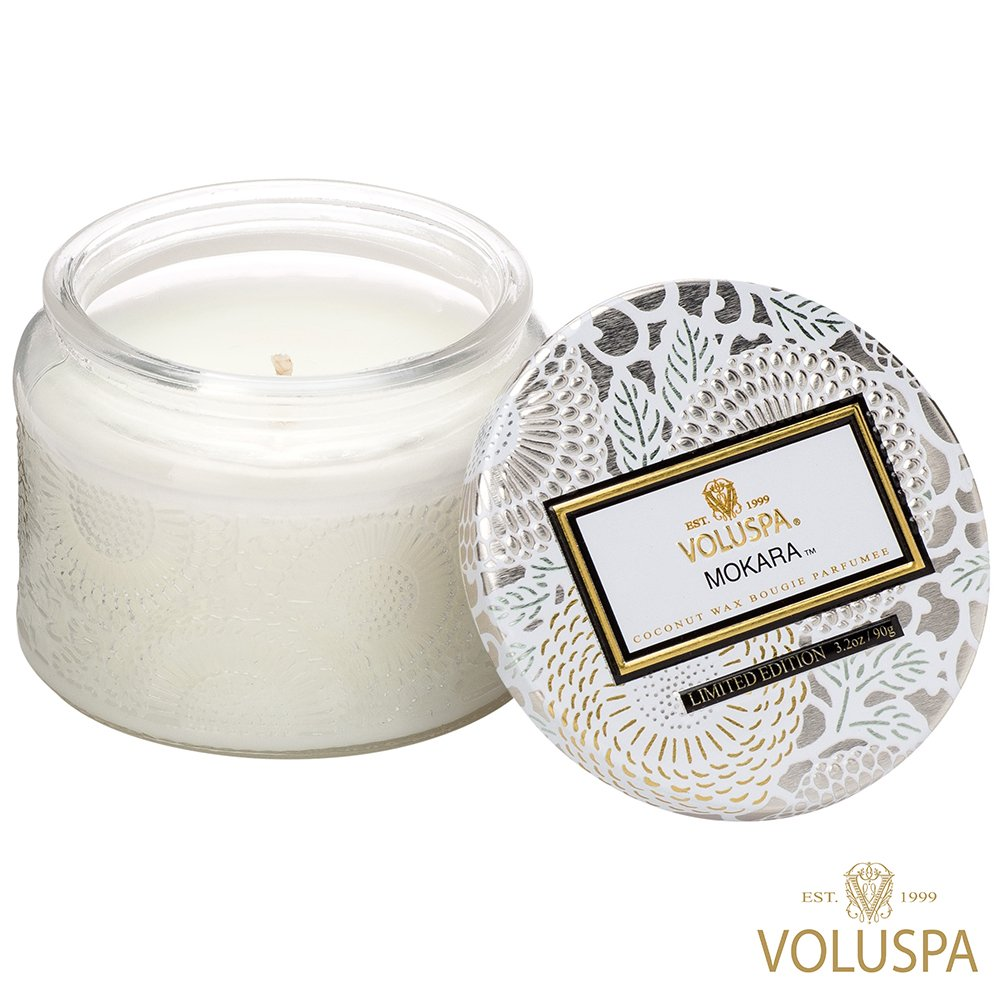 VOLUSPA 美國香氛 日式庭園系列 Mokara 微笑蘭花 香氛禮盒 浮雕玻璃罐 90g
