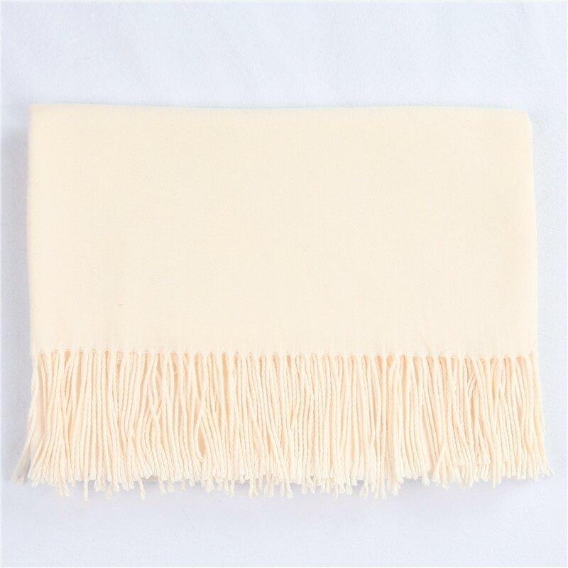 圍巾 女春秋冬季保暖百搭仿羊絨羊毛黑灰粉米白酒紅黃色駝色焦糖薄